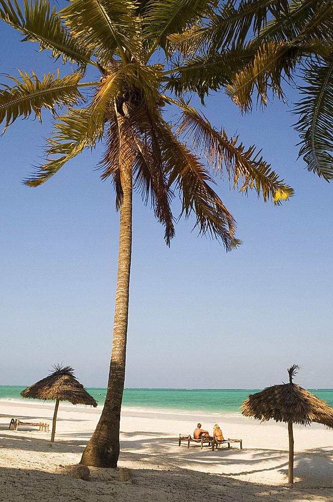 A couple sitting on traditional coconut wood sunbeds beneath palm trees, Paje Beach, Zanzibar, Tanzania, East Africa, Africa
