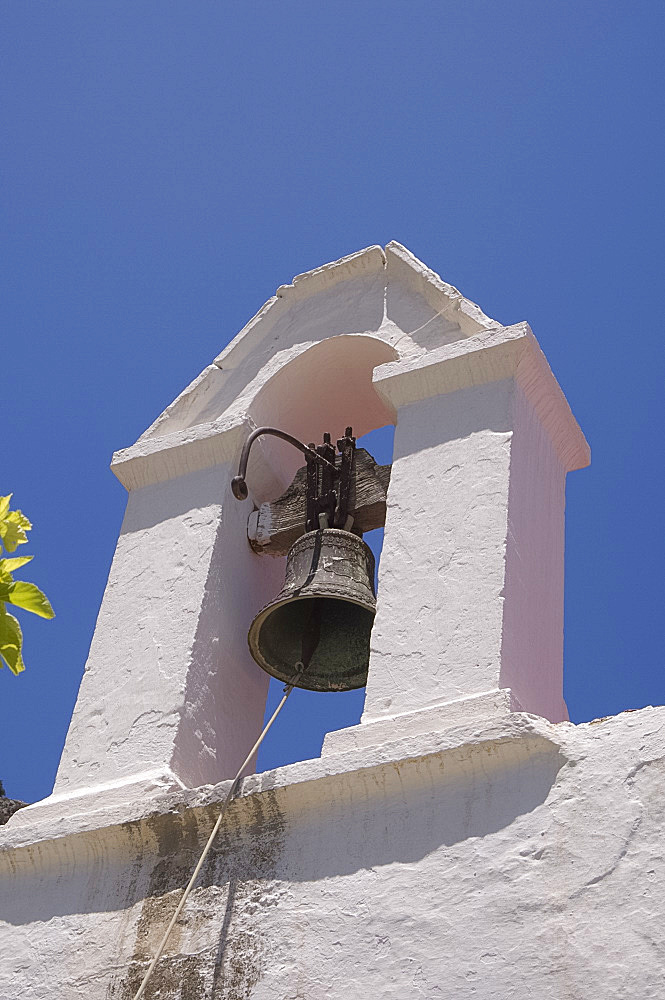 A white washed church bell tower in the village of Kritsa in eastern Crete, Greek Islands, Greece, Europe