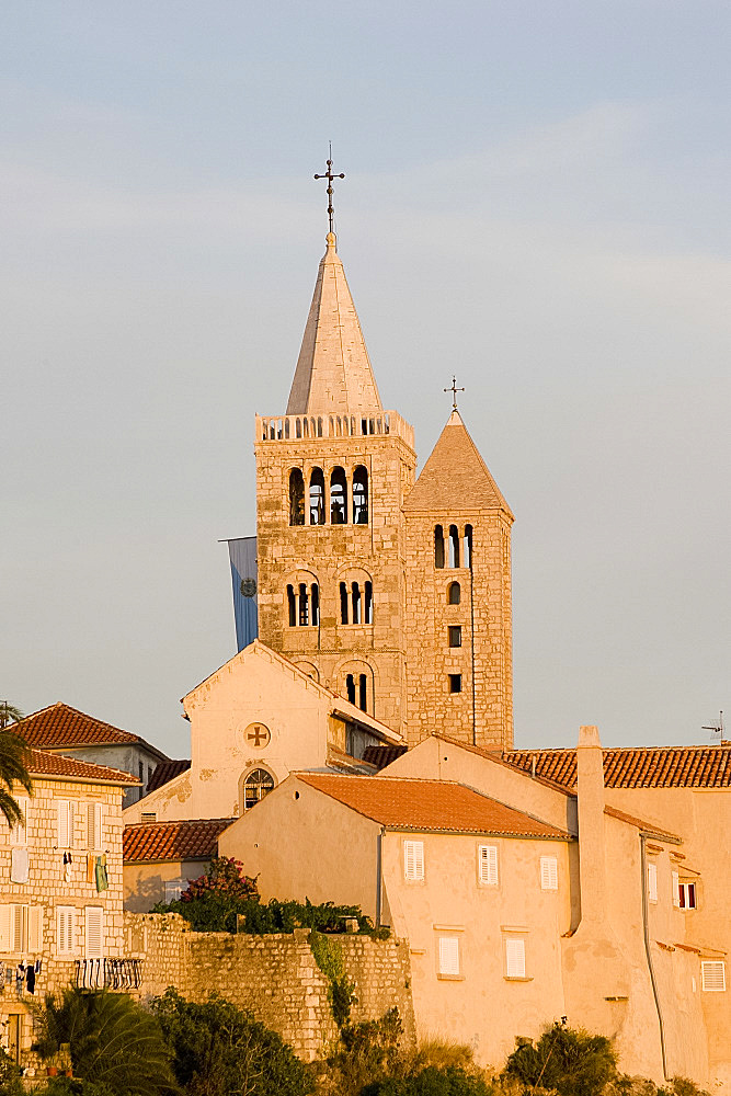 Late afternoon sunlight on the bell towers in Rab Town, Rab Island, Kvarner region, Croatia, Europe