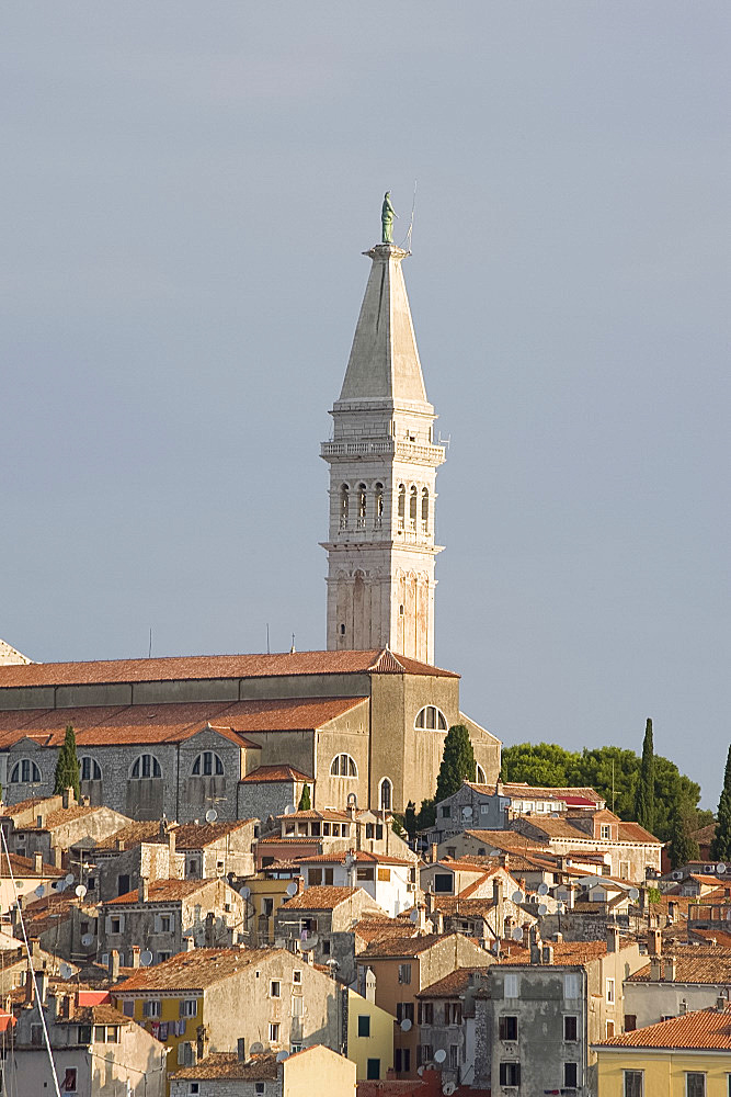 The hilltop Cathedral of St. Euphemia and old buildings in Rovinj, Istria, Croatia, Europe