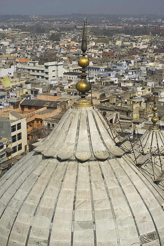 An aerial view of the dome of the Jami Masjid, the mosque in Old Delhi, India, Asia