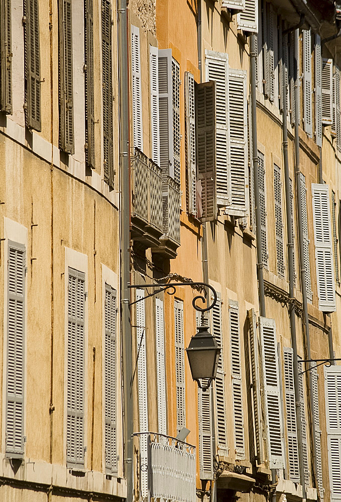 A street of old houses in Aix-en-Provence, Bouches-du-Rhone, Provence, France, Europe