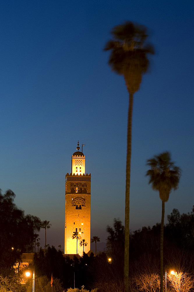 The minaret of the Koutoubia Mosque at dusk in Marrakech, Morocco, North Africa, Africa