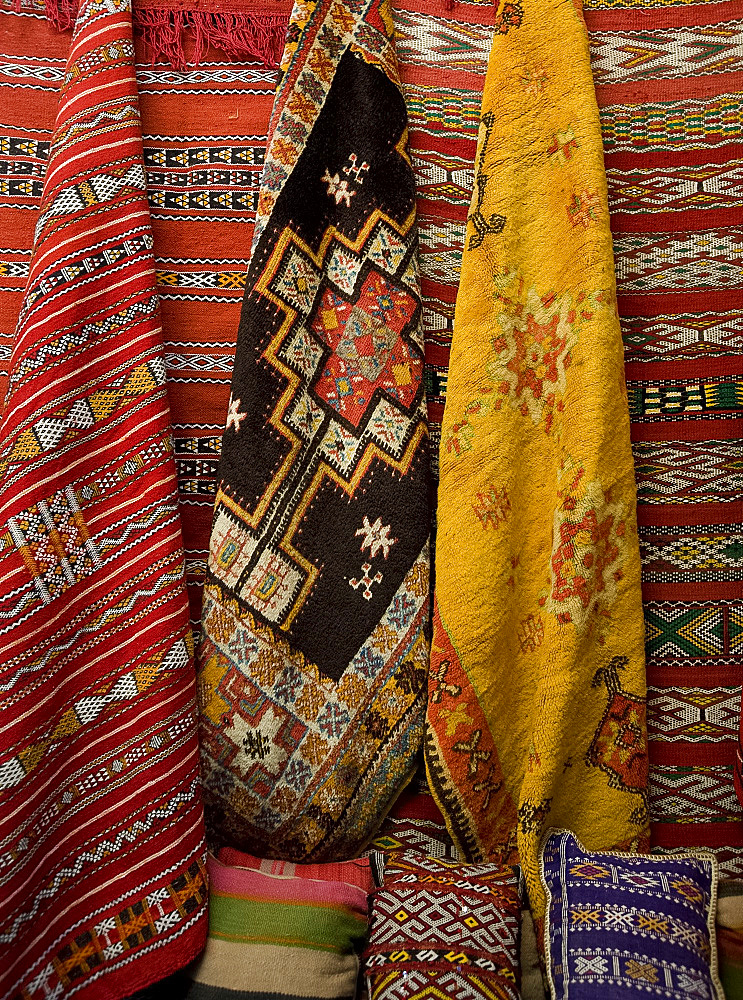 Carpets for sale in the souk in Marrakech, Morocco, North Africa, Africa