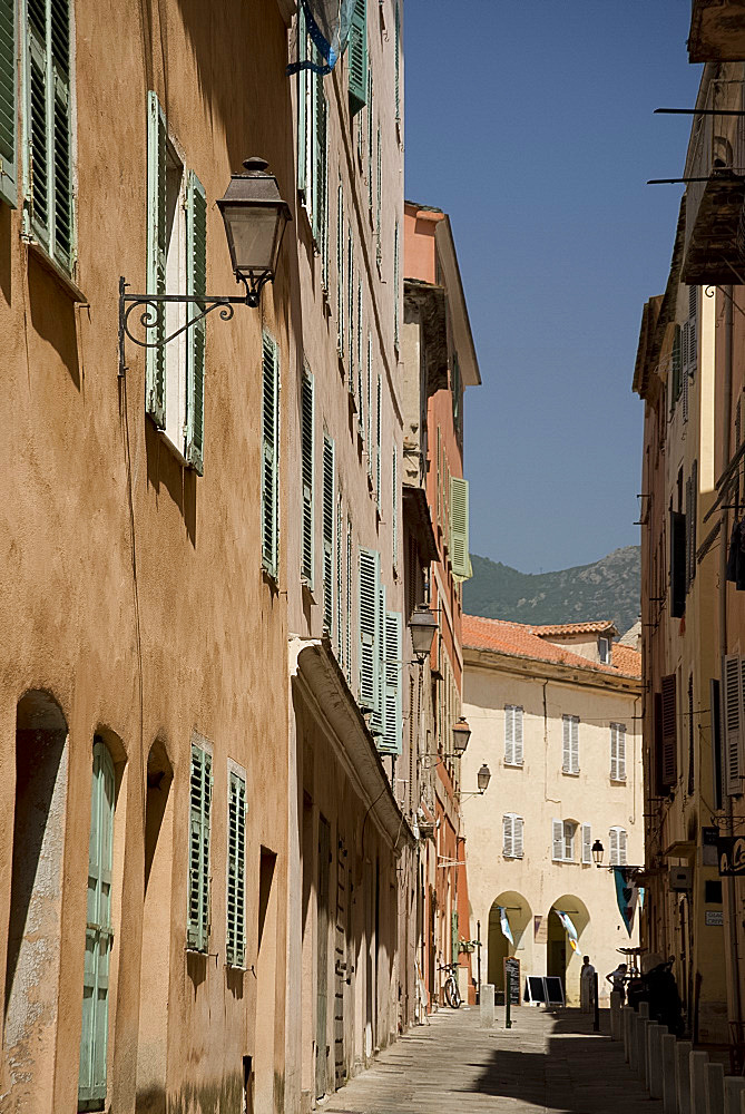 A narrow street in the Terra Nova section of Bastia in nothern Corsica, France, Europe