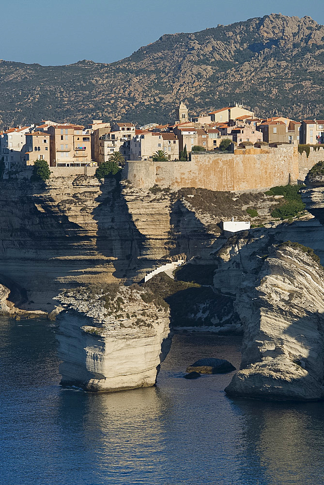 The Haute Ville perched on limestone cliffs in Bonifacio, Corsica, France, Mediterranean, Europe