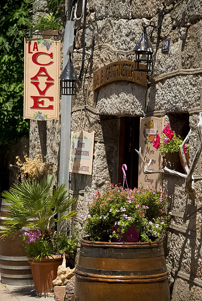 A wine shop with tastings in the town of Sartene in the Sartenais region of Corsica, France, Europe