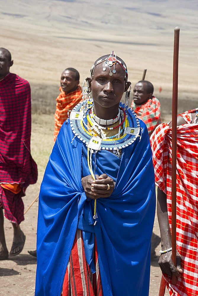 A Masai tribesman wearing elaborate jewelry in the Ngorongoro Conservation Area, Tanzania, East Africa, Africa