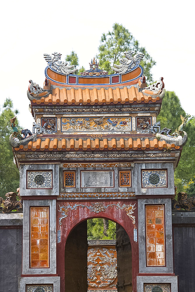 The Cong Gate at the entrance to the Tomb of Tu Duc, Duong Xuan Thong Village outside Hue, Vietnam, Indochina, Southeast Asia, Asia