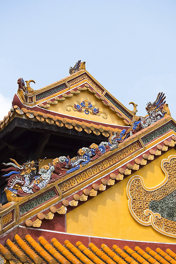 Porcelain decorations on the Gate of Hoa Khiem at the Tu Duc Tomb complex, Hue, Vietnam, Indochina, Southeast Asia, Asia