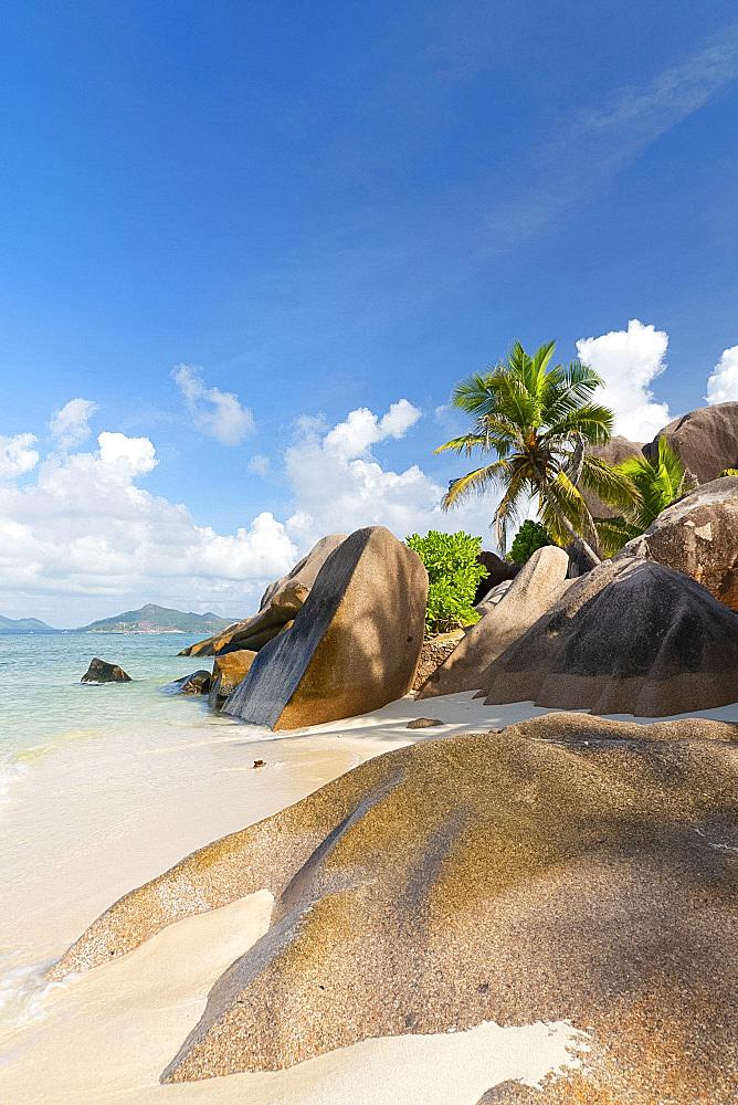 Distinctive limestone rock formations on Anse Source d'Argent, La Digue, Seychelles, Indian Ocean, Africa