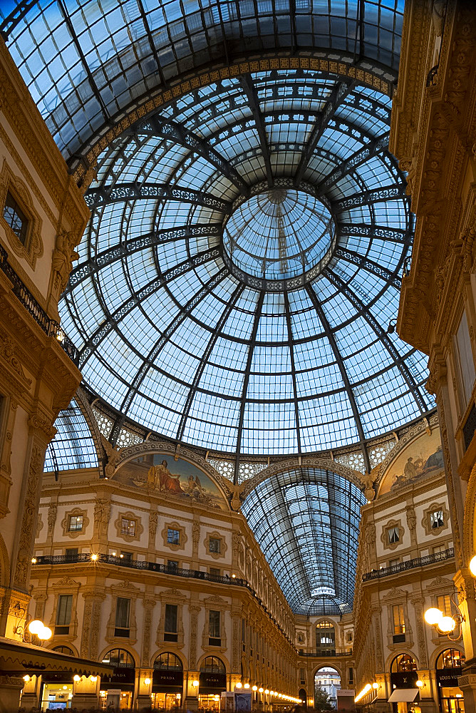 The Galleria Vittorio Emanuele II, an ornate shopping arcade on the Piazza del Duomo, Milan, Lombardy, Italy, Europe