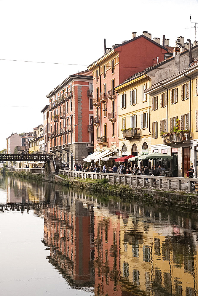 Old buildings reflected in the Naviglio Grande, Milan, Lombardy, Italy, Europe
