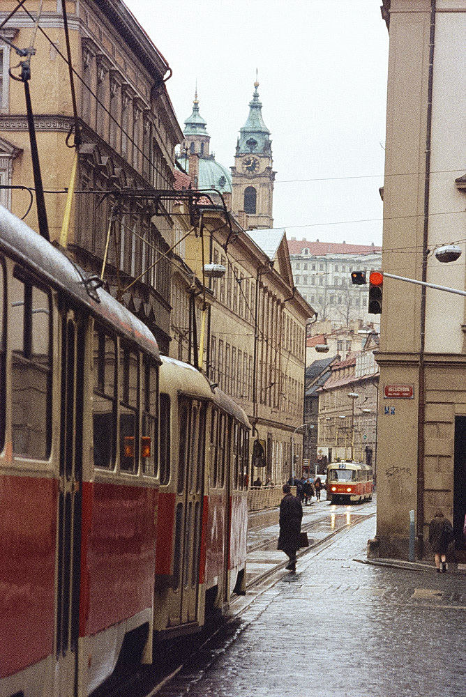 Tram on street in the Little Quarter, Prague, Czech Republic, Europe