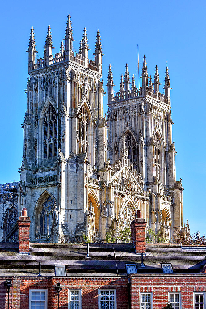 York Minster seen from the city walls at Bootham Bar, York, Yorkshire, England, United Kingdom, Europe - 190-9831