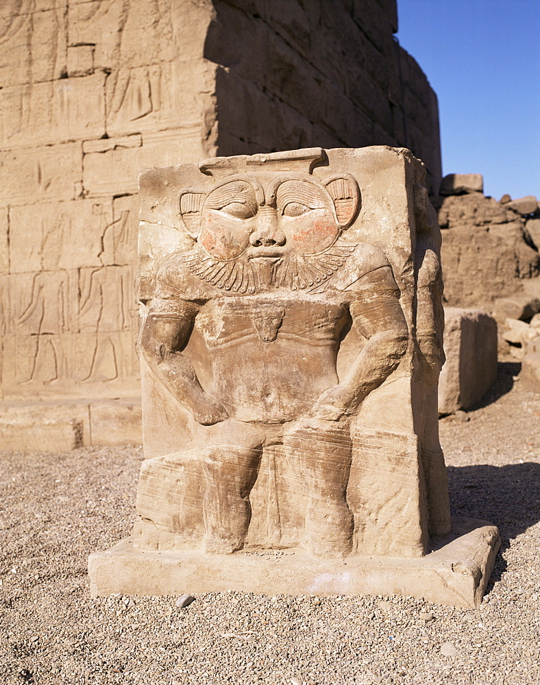 The god Bes, Temple of Hathor, Dendera, Egypt, North Africa, Africa