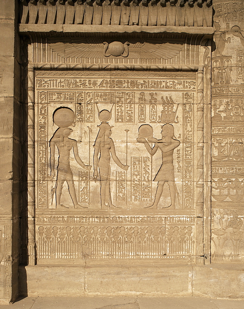 Relief on the birth-house, Temple of Hathor, Dendera, Egypt, North Africa, Africa