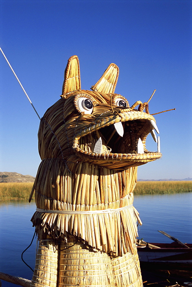 Detail of decoration on traditional reed boat, floating islands, Islas Flotantes, Lake Titicaca, Peru, South America - 252-10464