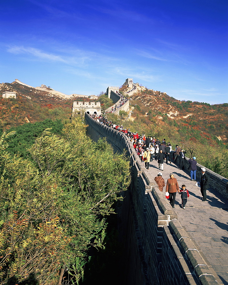 People on the Badaling section, the Great Wall of China, UNESCO World Heritage Site, near Beijing, China, Asia