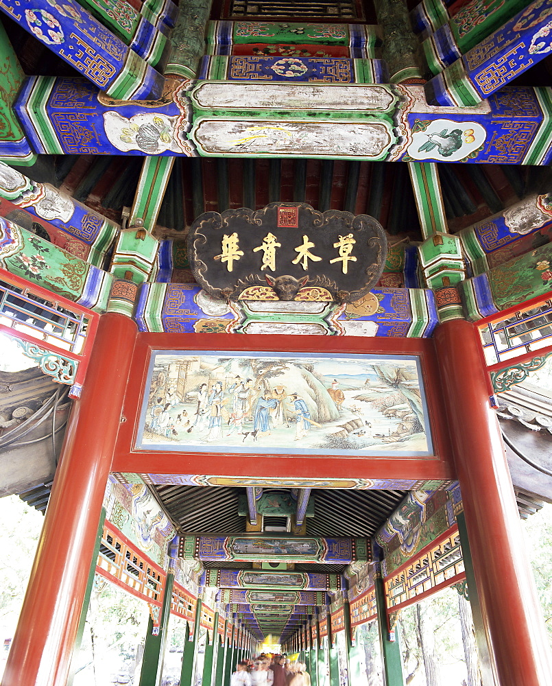 The Long Corridor (Changlang), decorated with 700m of mythical scenes, The Summer Palace, UNESCO World Heritage Site, Beijing, China, Asia