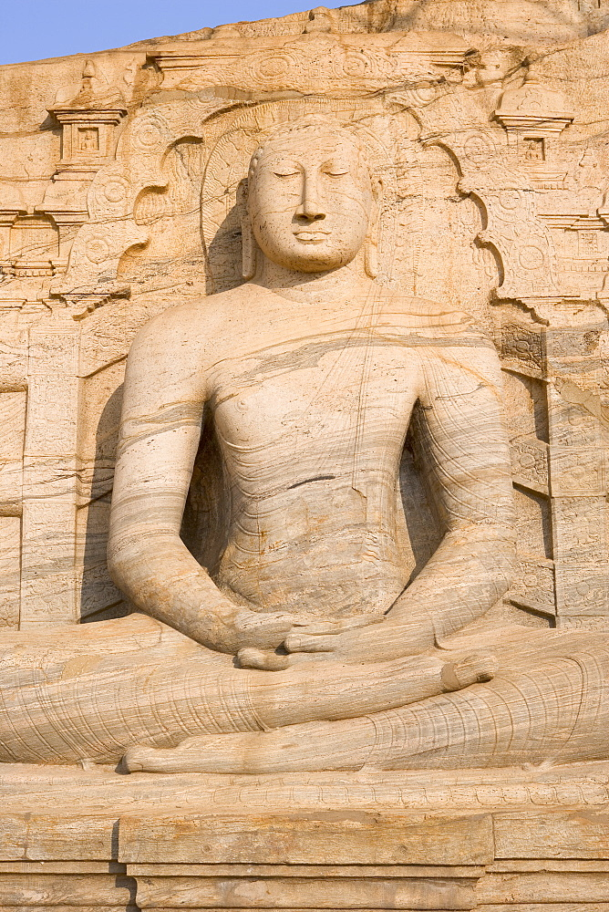Rock carved granite image of the seated Buddha, Gal Vihara, Polonnaruwa (Polonnaruva), UNESCO World Heritage Site, Sri Lanka, Asia