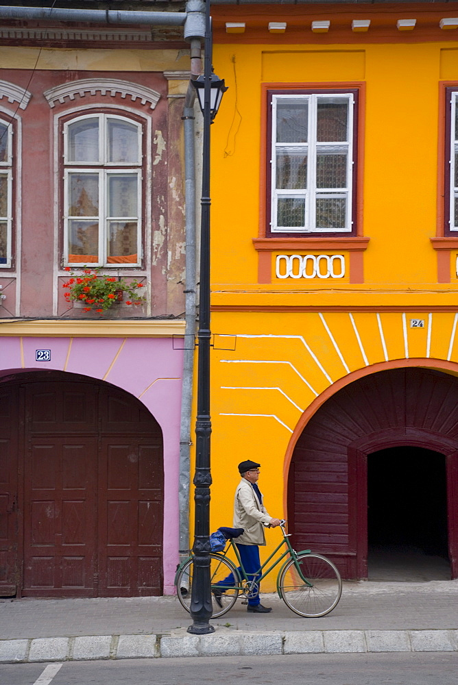 Detail of colourfully painted houses in medieval citadel town, Sighisoara, UNESCO World Heritage Site, Transylvania, Romania, Europe - 252-11254