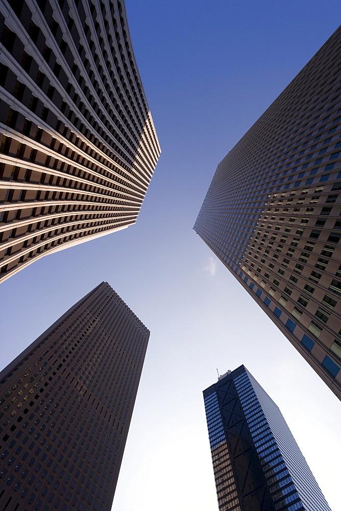 Low angle view of office buildings, Shinjuku, Tokyo, Honshu, Japan, Asia
