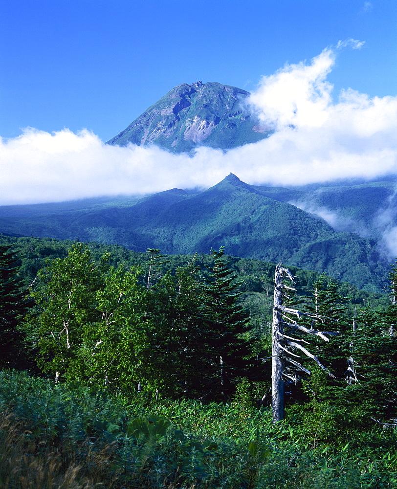 Mount Rauso-dake with low cloud, Shiretoko Peninsula, Hokkaido, Japan, Asia