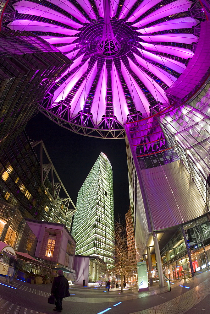 Interior of the Sony Center illuminated at night, Potsdamer Platz, Berlin, Germany, Europe
