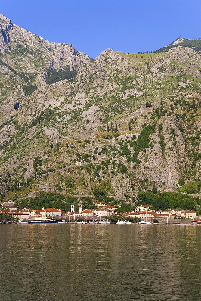 Bay of Kotorska and the Lovcen mountain range, Kotor, Adriatic coast, Montenegro, Europe