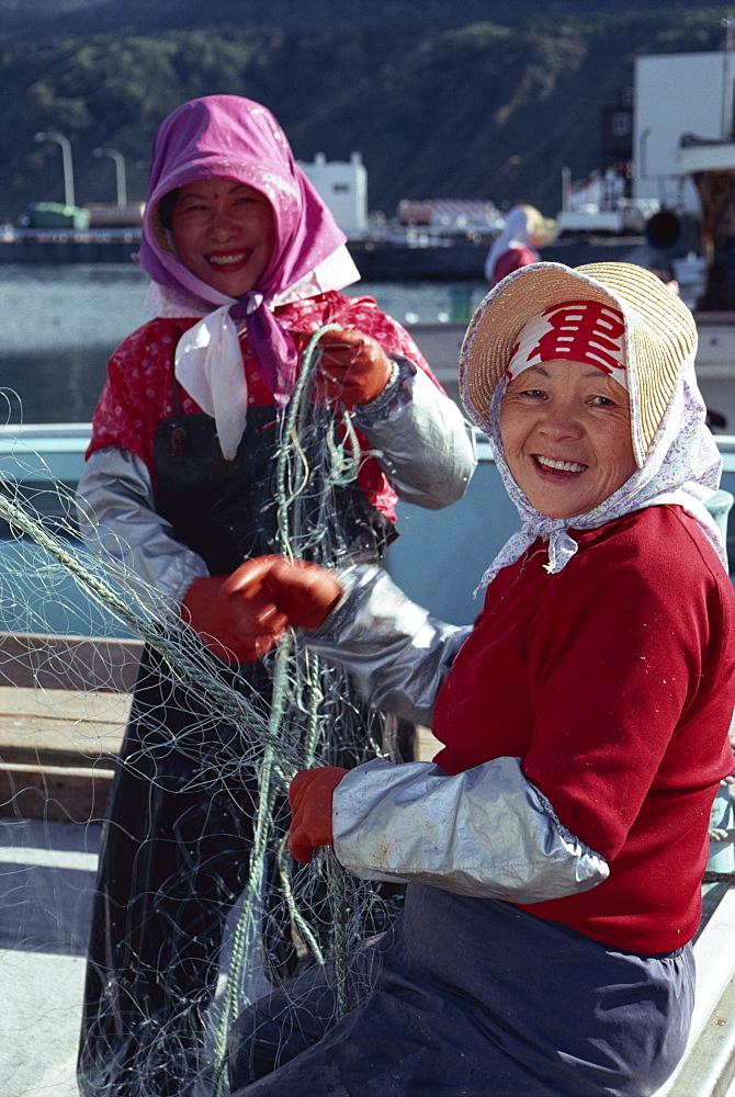 Fisherwomen, Rishiri Island, Hokkaido, Japan, Asia