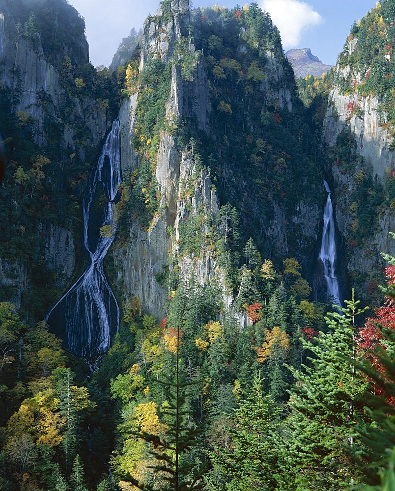 Ginga No Waterfall, Sounkyo Gorge, island of Hokkaido, Japan, Asia