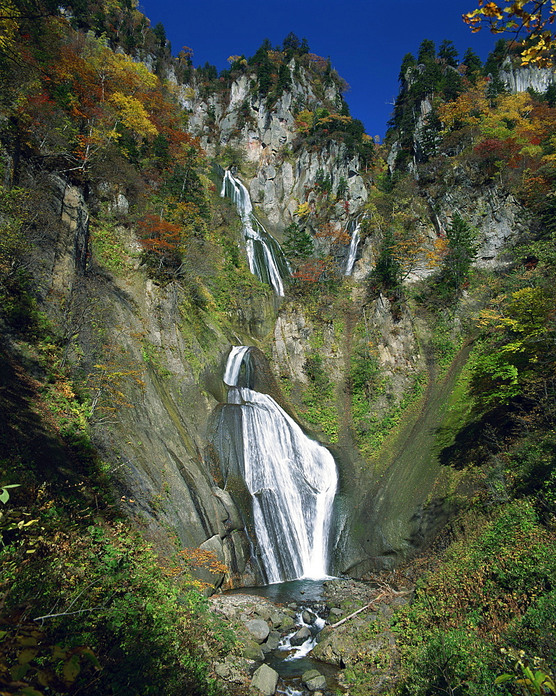The Hagoromo waterfall at Tenninkyo on Hokkaido, Japan, Asia