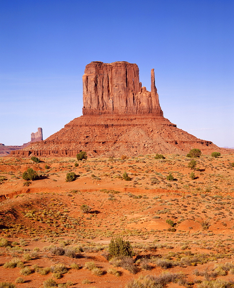 Rock formations known as The Mittens on the Navajo Tribal Reservation in Monument Valley, on the Utah Arizona border, USA