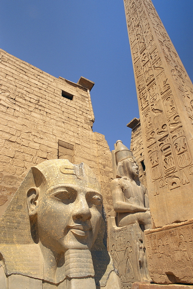 Ramses II and the Obelisk at Luxor Temple, Luxor, Thebes, Egypt, Africa