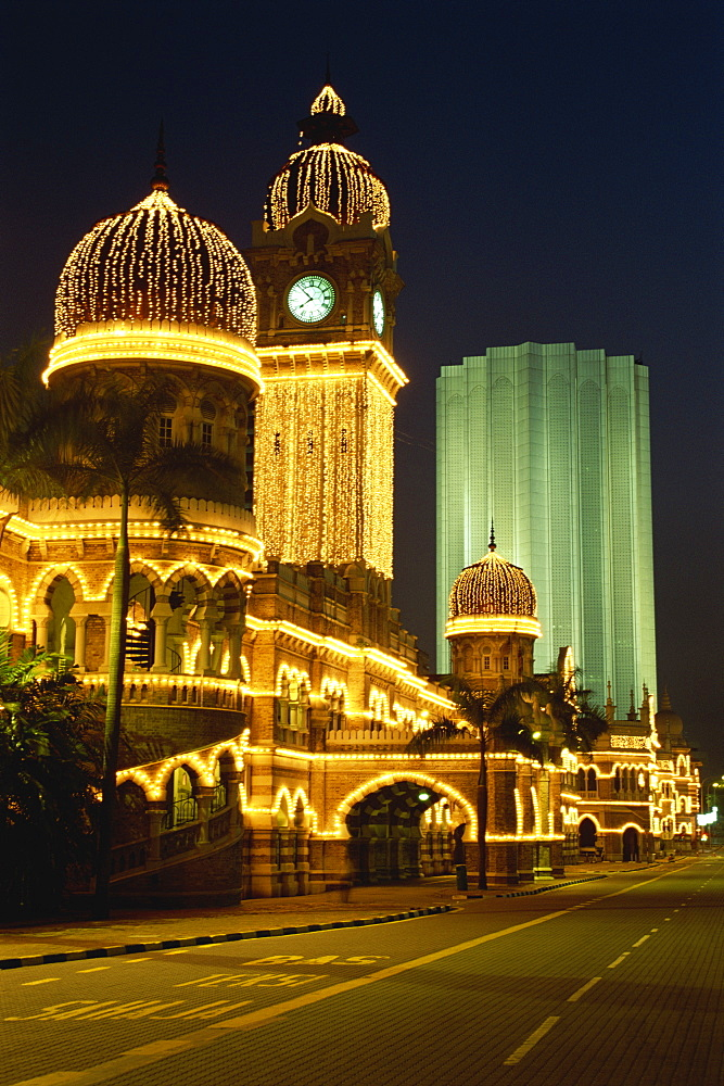 The Sultan Abdul Samad building dating from 1894, illuminated at night in Merdeka Square in the city of Kuala Lumpur, Malaysia, Southeast Asia, Asia