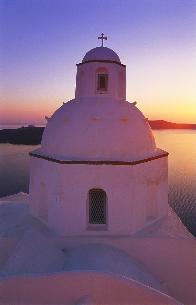 Orthodox Church at Sunset, Thira, Santorini, Cyclades, Greece - 252-7484