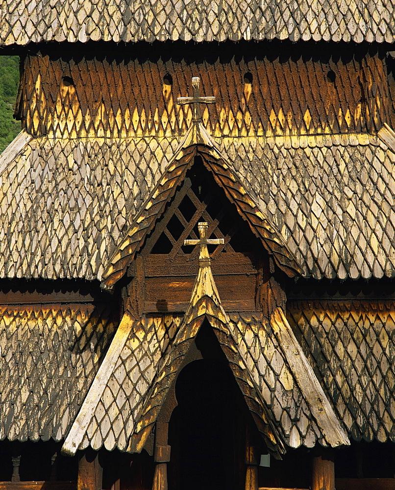 Best preserved 12th century stave church in Norway, Borgund Stave Church, Western Fjords, Norway, Scandinavia, Europe
