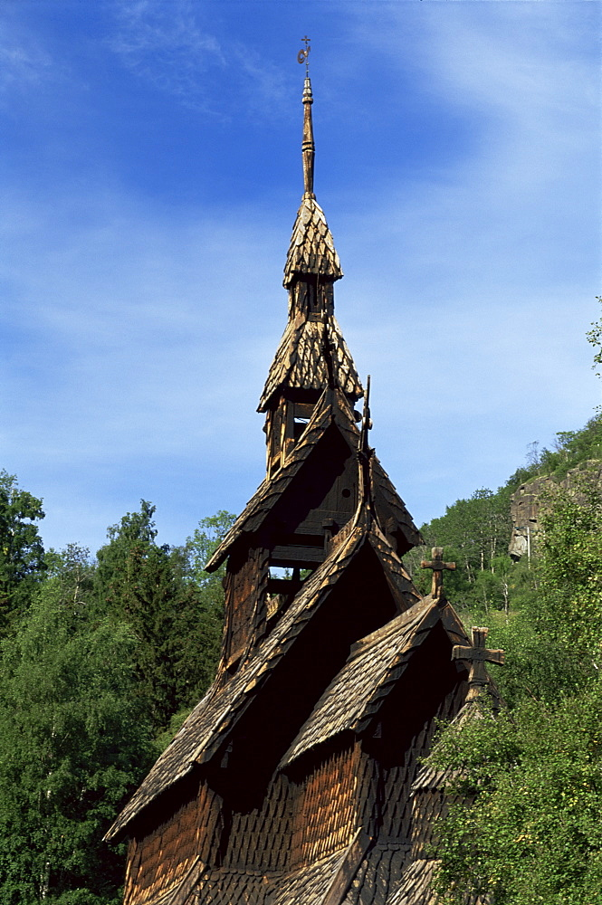 The best preserved 12th century stave church in Norway, Borgund, Western Fjords, Norway, Scandinavia, Europe - 252-8258