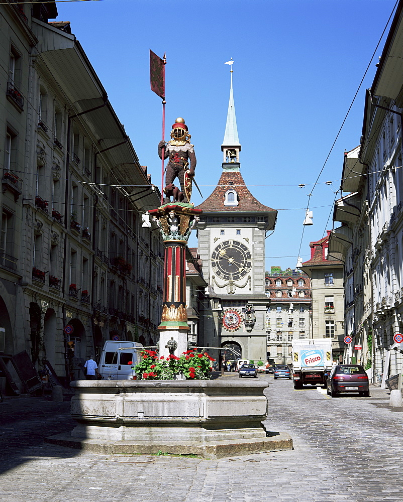 Kramgasse and the Zeitglockenturm, Bern, Bernese Mittelland, Switzerland, Europe