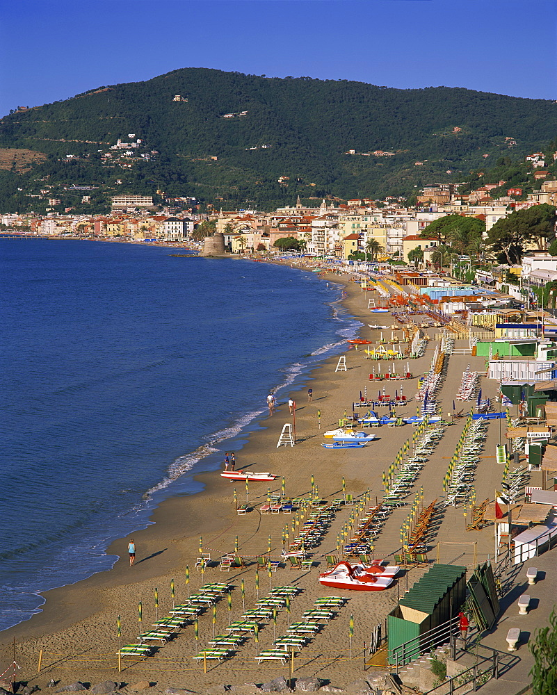 Beach and town, Alassio, Italian Riviera, Liguria, Italy, Europe