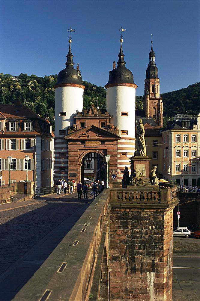 Bridge over the Neckar River, Heidelburg, Baden Wurttemberg, Germany, Europe