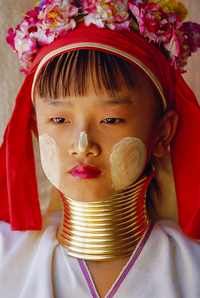 Portrait of a 'Long necked' Padaung tribe girl, Mae Hong Son Province, northern Thailand, Asia - 252-9942