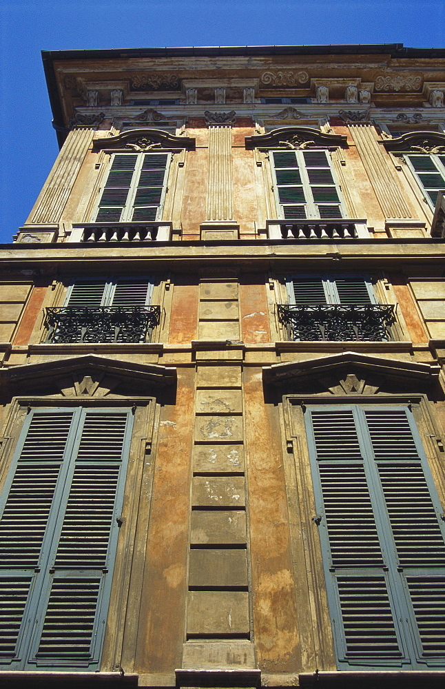Building Exterior Showing Window Shutters, Genoa, Italy - 253-3027