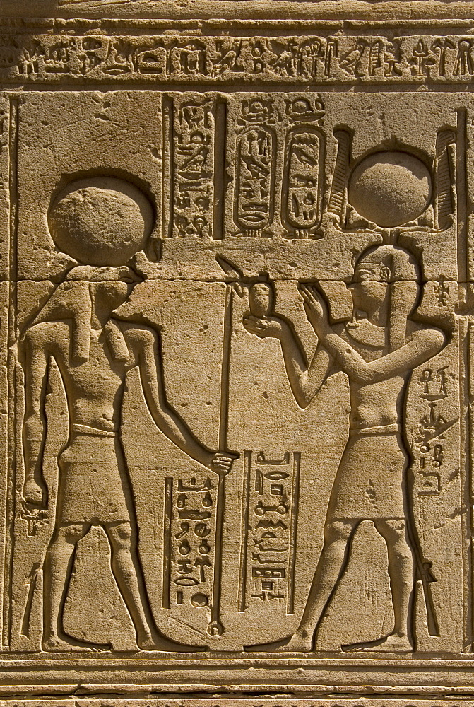 Dendera necropolis, Qena, Nile Valley, Egypt; carvings on the outside wall of the Temple of Hathor