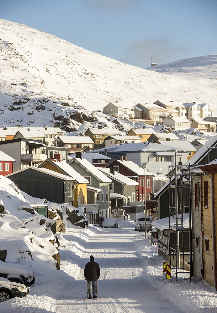 Winter in Honningsvag, most northerly town in Norway, Arctic, Norway, Scandinavia, Europe - 29-5462