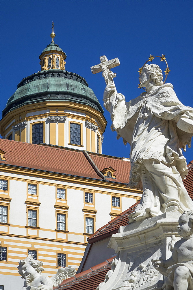 Johannes Nepomuk statue and Monastery, Melk, UNESCO World Heritage Site, Lower Austria, Austria, Europe - 306-4449