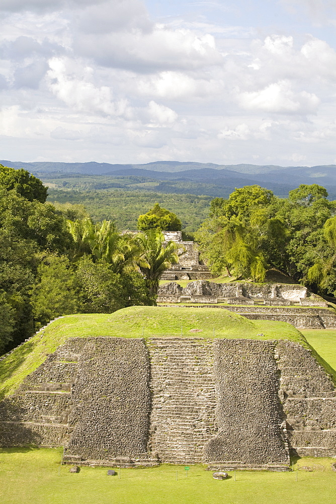 View from 130ft high El Castillo at the Mayan ruins at Xunantunich, San Ignacio, Belize, Central America
