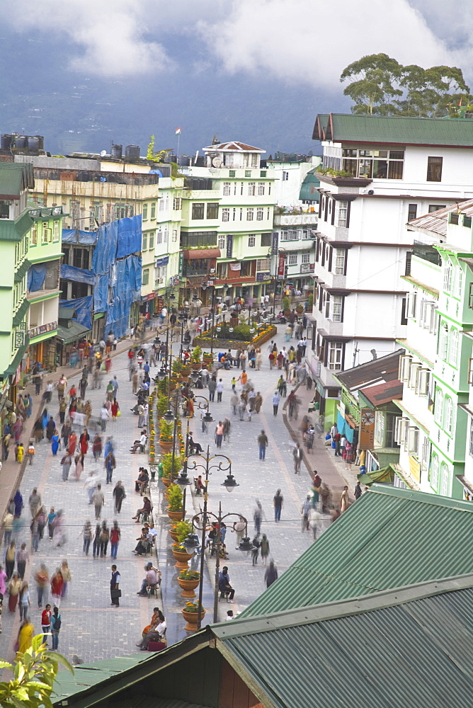 Mahatma Gandhi Marg (MG Marg), the main shopping street, Gangtok, Sikkim, India, Asia