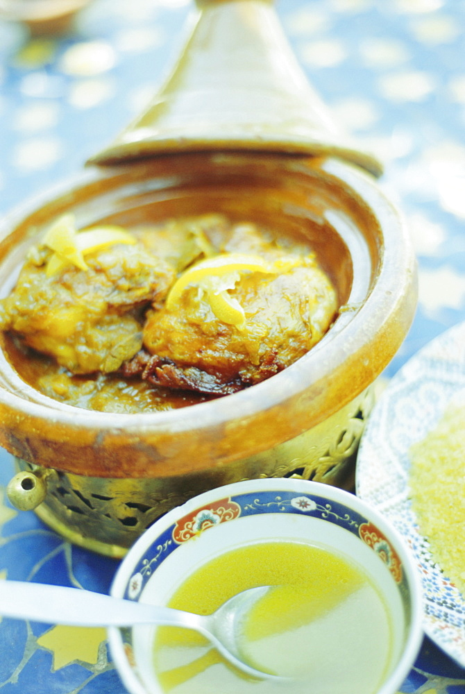 Chichen Tagine, traditional food, Marrakech, Morocco, North Africa - 321-3285